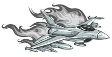 Jet Fighter Aircraft, Vector Illustration Design Art