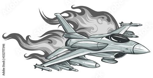Fotografia Jet Fighter aircraft, vector illustration design art