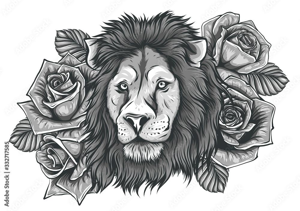Fototapeta A beautiful lion in a wreath of wild rose. Vector illustration