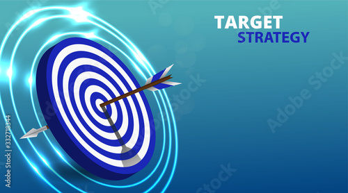 Vector realistic illustration with target financial goal concept Wallpaper Mural