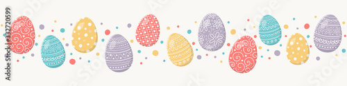 Colourful Easter concept with decorative eggs. Banner. Vector Wallpaper Mural
