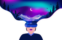 Virtual Reality Beauty - Man Using VR Headset To Experience A Beautiful Night Forest Scene. Video Game, Escape Reality And Technology Concept. Vector Illustration.