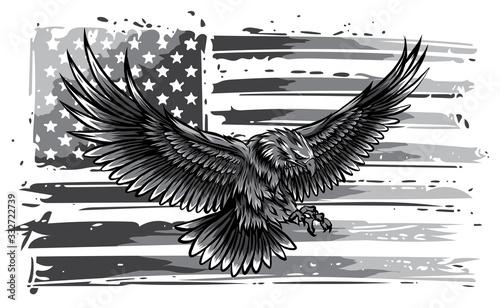 Photo monochromatic vector illustation American eagle against USA flag and white background