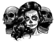 Monochromatic Sugar Skull Girl...