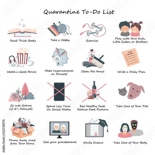 Fotografía List of Daily Activities for Covid or coronavirus quarantine