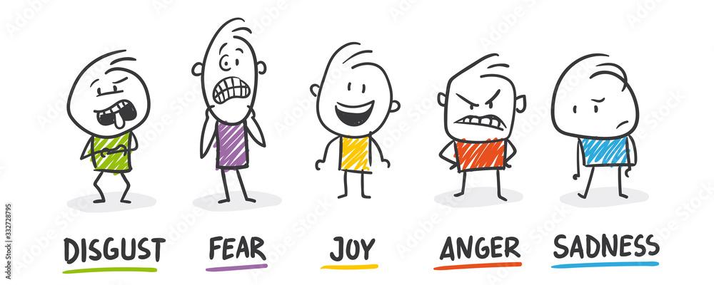 Fototapeta Strichfiguren / Strichmännchen: Disgust, Fear, Joy, Anger, Sadness. (Nr. 458)