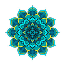 Blue And Turquoise Round Manda...