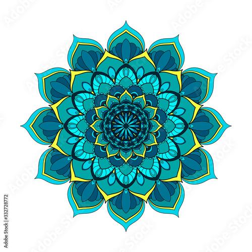 Valokuvatapetti Blue and turquoise round mandala isolated on white background