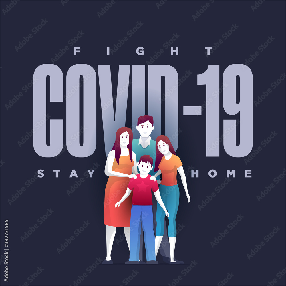 Fototapeta Family are standing in front of Covid-19 and protecting themselves.