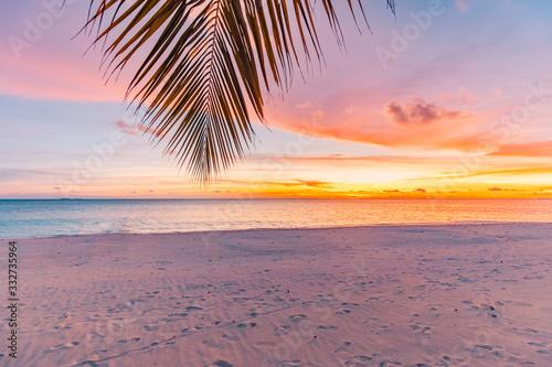 Valokuvatapetti Landscape of paradise tropical island beach, sunrise shot