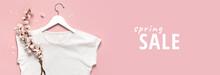 Spring Sale Concept. White Bla...