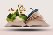 Open Novel Book With Animals And Landscapes