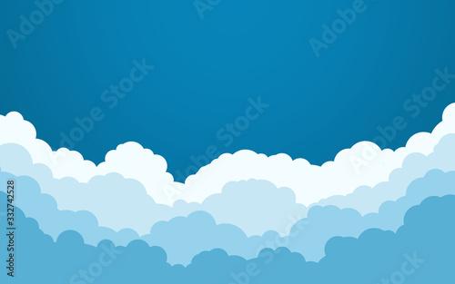 niebieskie-niebo-z-bielem-chmurnieje-tlo-projekt-plaski-kreskowka-ilustracji-wektorowych