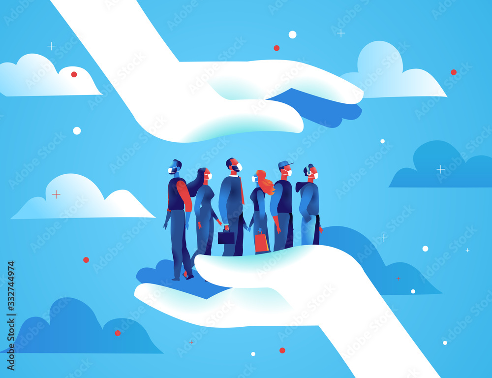 Fototapeta Due grandi mani proteggono un gruppo di persone uomini e donne con le mascherine dal contagio del virus