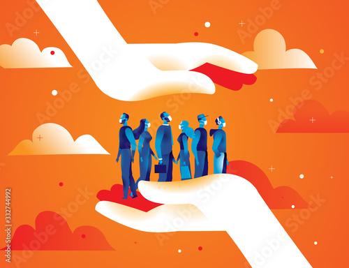 Fototapeta Due grandi mani proteggono un gruppo di persone uomini e donne con le mascherine dal contagio del virus obraz