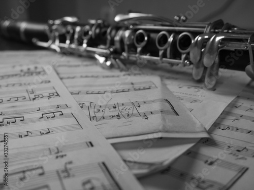 Canvas Print Close up of a clarinet music instrument and music notes