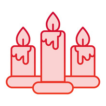 Candles Color Icon. Three Burn...