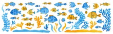 Set Of Watercolor Fish And Pla...