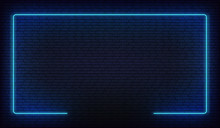 Neon Border Frame. Blue Neon Glowing Background