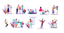 Vocation Illustration Set. People Playing Violin, Sewing, Gardening, Cooking Cake. Creativity Concept. Illustration For Topics Like Hobby, Occupation, Lifestyle