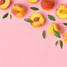 Summer Fruit Background. Flat ...