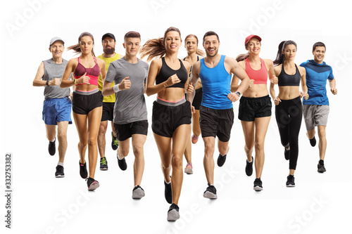 Fotografía Many young and older people running in sportswear