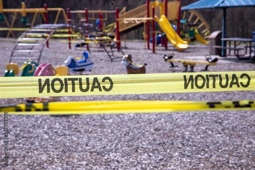 Fotografie, Obraz Playground equipment closed due to COVID 19