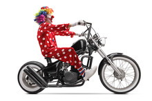 Excited Clown Riding A Chopper...