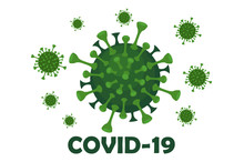 Banner With Virus Covid-19 And The Inscription.