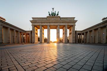 Brandenburg gate in spring without tourists during corona lockdown