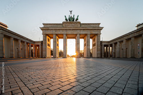 Brandenburg gate in spring without tourists during corona lockdown