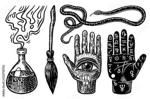 Mystical magic boho elements Canvas Print