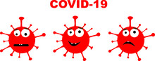 3 Emoji Virus Bacteria Cells In White Background, With Inscription COVID-19.