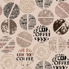 Panel Szklany Kawa Coffee. Abstract coffee pattern with lettring. Seamless vector pattern.