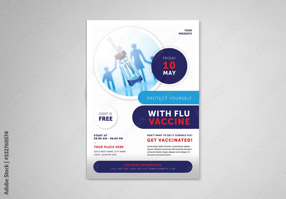 Fototapeta Flu Shot Informational Flyer Layout
