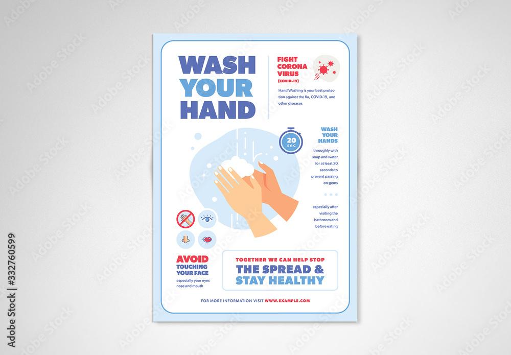 Fototapeta Blue and White Handwashing and Coronavirus Informational Flyer Layout