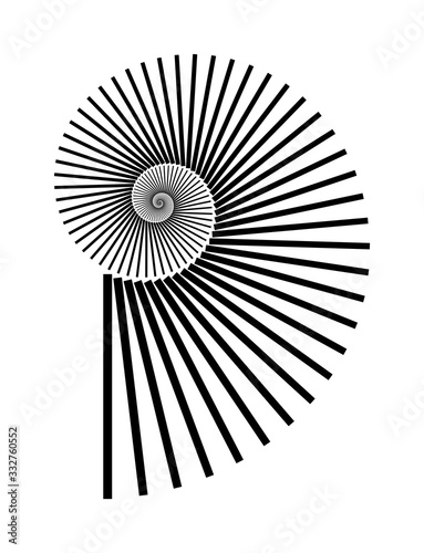 Photo Abstract vector Archimedean spiral, shell symbol shape on a white background