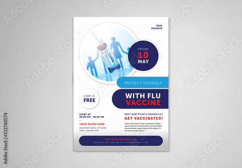 Obraz Flu Shot Informational Flyer Layout - fototapety do salonu