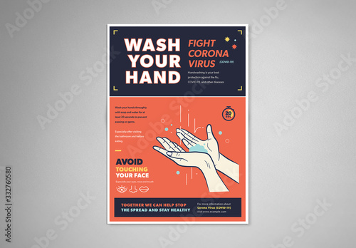 Obraz Orange and Blue Handwashing and Coronavirus Informational Flyer Layout - fototapety do salonu