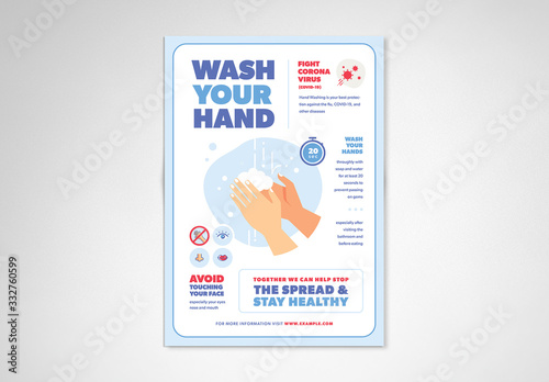 Obraz Blue and White Handwashing and Coronavirus Informational Flyer Layout - fototapety do salonu