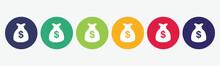 Dollar Money Bag Icon Set Vect...