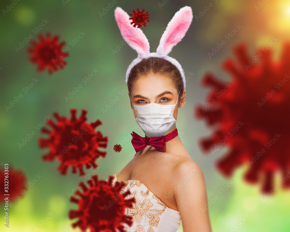 Fototapeta corona virus - sexy easter rabbit in breathing mask