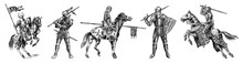 Medieval Armed Knight In Armor And On A Horse. Historical Ancient Military Characters Set. Prince With A Spear And A Flag. Ancient Fighters. Vintage Vector Sketch. Engraved Hand Drawn Illustration.