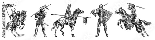 Medieval armed knight in armor and on a horse Fotobehang