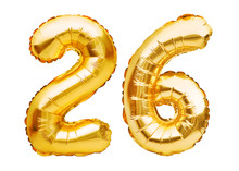 Number 26 Twenty Six Made Of Golden Inflatable Balloons Isolated On White. Helium Balloons, Gold Foil Numbers. Party Decoration, Anniversary Sign For Holidays, Celebration, Birthday, Carnival