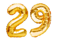 Number 29 Twenty Nine Made Of Golden Inflatable Balloons Isolated On White. Helium Balloons, Gold Foil Numbers. Party Decoration, Anniversary Sign For Holidays, Celebration, Birthday, Carnival