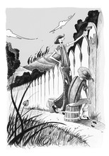 Tom Sawyer Paints The Fence. Black And White Ink Illustration