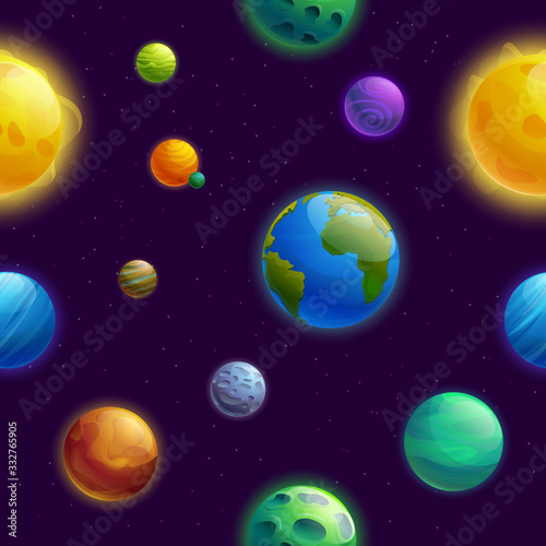 seamless background with planets cartoon planets and stars, vector illustration