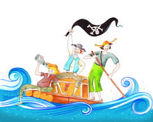 Handmade Illustration With Friends On A Raft Playing Pirates, Tom Sawyer Huckleberry Finn