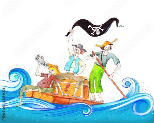 Handmade illustration with friends on a raft playing pirates, tom sawyer huckleb Canvas-taulu